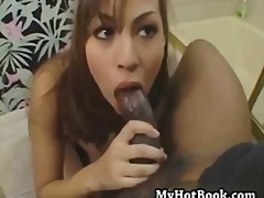 interracial, fishnet, jackie, brunette, blowjob, facial, cumshot