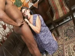 interracial, throat, sucking, stick, job, big, large, deepthroat, sucks, grandma, mature, huge, deep