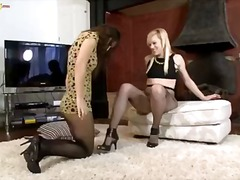 pantyhose, masturbation, lesbian, oral, nylons, kissing, brunette, blonde