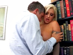 hardcore, boobs, office, blonde, babe, couple, stockings, tattoo