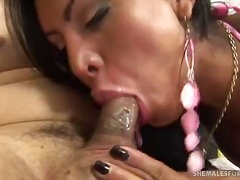 Stunning shemale ass licked and fucked