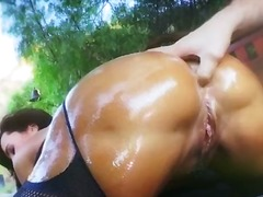 milf, blowjob, ass, outdoors, babe, butt, busty, pornstar, oil