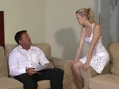 Lovely young blonde falls for her bf's