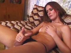 Horny transsexual threesome poking