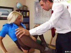 cock, stockings, black, office, desk, clothed, big, group, female, work, tits, boss, white, legs, spreading
