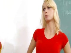 Sexy female teacher kisses hawt beauty student video in classroom