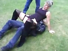 granny, threesome, outdoors, cumshot, blowjob, pussyfucking, facial