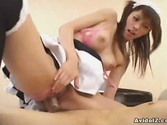 japanese, uniform, lick, asian, oral, maid, hardcore, mmf, 3some, pussy, hairy, brunette