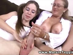 mature, jerking, big, boobs, handjob, wanking