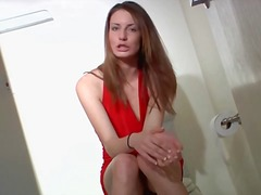 Red halter dress is insanely sexy on small tits girl