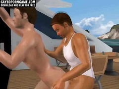 Horny 3d hunk sucks cock and gets fucked on a boat