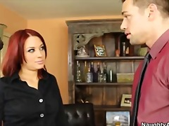 Redhead secretary gets fucked by boss as punishment