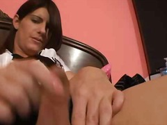 solosex, brunetter, uniform, shemale