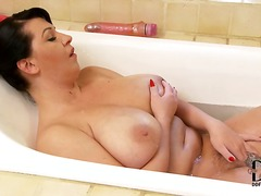 europeans, ainsley addison, tits, milf, bathroom, natural, brunette, big