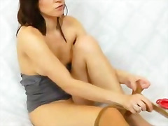 fisting, redhead, nylons, cunnilingus, juicy, vagina, clit, pantyhose, close, finger, tight, fetish, foot