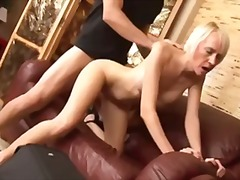 Erotic blond milf sucking meat