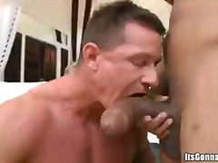 Nasty guy taking big black cock