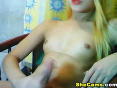 webcam, blond, mastrubasie, piel, solo, shemale,
