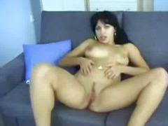 tits, brunette, erotic, rubbing, couch, homemade, pussy