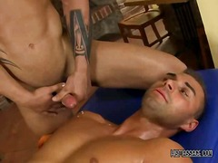 Masseuse gets fucked then eats cum