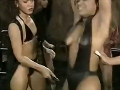 Hot chicks get chained up and whipped