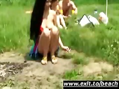 lick, outdoors, bisexual, threesome, nudism, swingers, lesbian, cunnilingus, public, nudist, trio