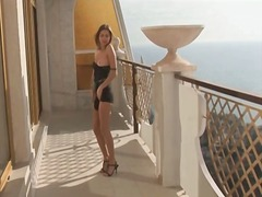 Teen on the deck strips from her sexy dress