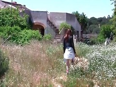 outdoors, redhead, skirt