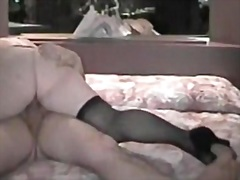 showing, stockings, wife, pretty, plump, fetish, position, bed, cunt
