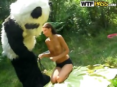 Alluring brunette hoochie molly is getting fucked by someone in panda costume