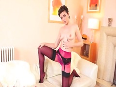 Super sexy purple lingerie and stocking