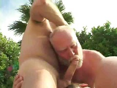 Hot gay bears threeway fuck outdoor