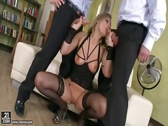 Beautiful bombshell colette w. in super sexy lingerie and alluring shaved pussy is here to appease her office colleagues dicks and she does it perfectly. enjoy!