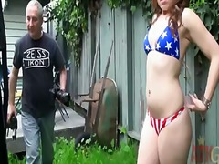 American slut, angelina mylee, showing young forms and masturbating outdoors. moreover, she is posing on camera and getting fully satisfied at the end. you need to see this one