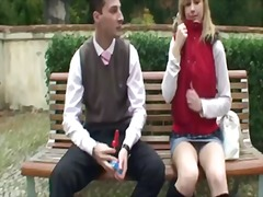 Amazing young blonde dana is walking with her boyfriend and chating about some interesting stuff, the are sitting in the park and then are going to the mall to do some shopping.