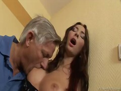 Sexy and and adorable kattie gold is very into mature guys and thats why right now she is being pleased by a handsome old who is licking her ass and masturbating her trimmed pussy.