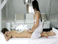Addison and silvie are two hot and sexy whore, they are showing us how a real naughty lesbian massage should be done while showing their sweet boobs and doing some good pussy pleasing.