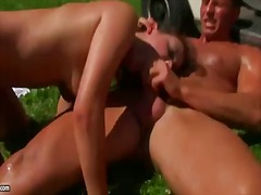Hot summer day lured the naughty college babe rosee outdoors for a session of sweaty fun