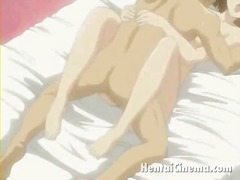 Engaging manga minx showing big tits and getting petite beaver licked