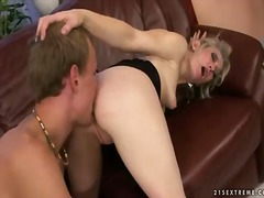Horny and crazy granny named angeline gets an amazing cunnilingus from her young fucker