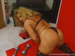 big, stockings, muscle, women, clit, toys