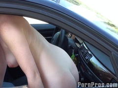 titty, public, college, redhead, gal, takes, car, babe