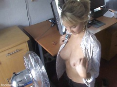 Nice looking blonde and her fan in down blouse play