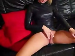 hand job, blond, leer, lateks