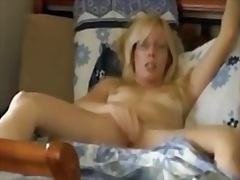 playing, gets, films, horny, caught, bed, masturbation, wife