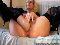 grandma, older, mom, milf, stockings, gilf, fisting