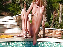 Logan is horny as hell and fucks herself with dildo with wild passion