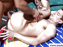 Amateur muscle by the pool fucking ass
