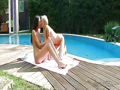 pool, lesbos, cunnilingus, girls, video, movies, clit, outdoors, lick, eating, swollen, lesbian, kissing
